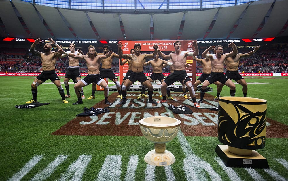 New Zealand players perform the haka after defeating South Africa during the World Rugby Sevens Series Canada Sevens Cup final in Vancouver, Canada.
