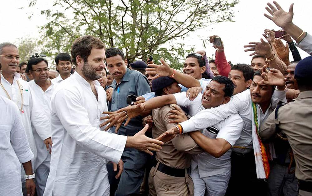 Congress Vice President Rahul Gandhi during his padyatra in Girodhpuri, Chhattisgarh.