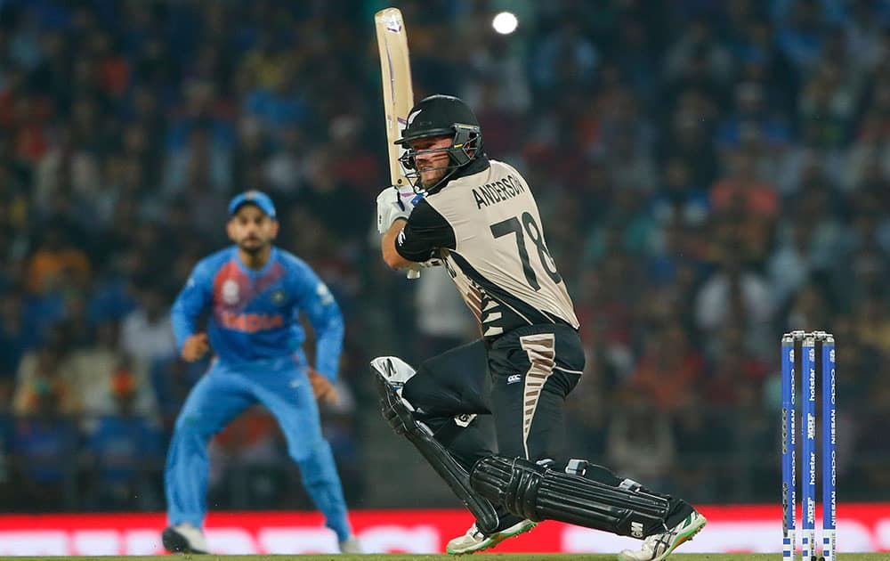 New Zealand's Corey Anderson plays a shot against India during the ICC World Twenty20 2016 cricket match at the Vidarbha Cricket Association stadium in Nagpur.