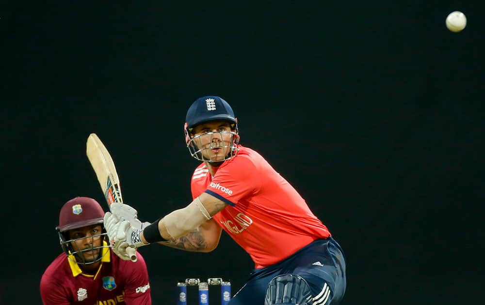 England's Alex Hales bats against West Indies during their ICC World Twenty20 2016 cricket match at the Wankhede stadium in Mumbai.