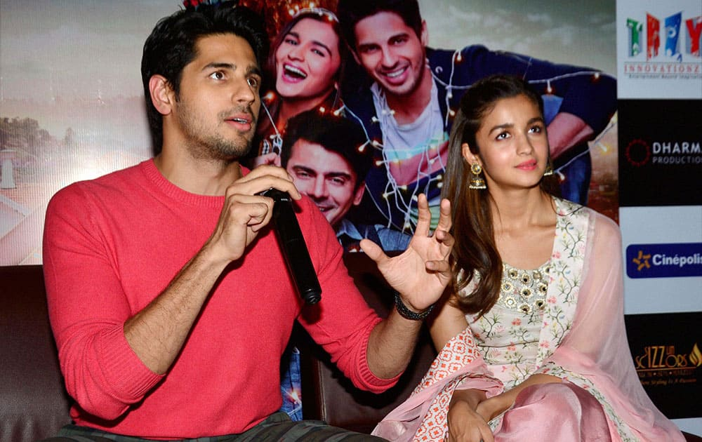 Actors Sidharth Malhotra and Alia Bhatt during a press conference to promote her upcoming film Kapoor & Sons in Jaipur.