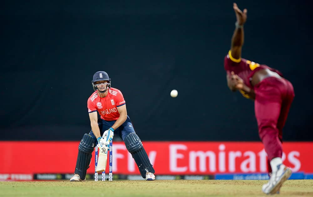 England's Jos Buttler bats against West Indies during their ICC World Twenty20 2016 cricket match at the Wankhede stadium in Mumbai.