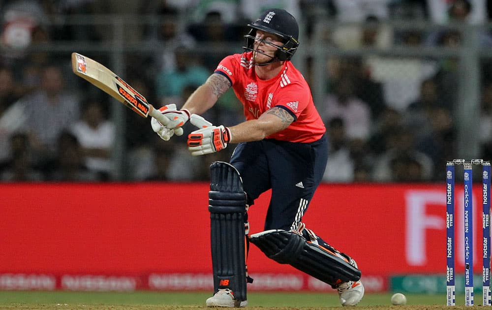 England's Ben Stokes bats during their ICC World Twenty20 2016 cricket match against West Indies at the Wankhede stadium in Mumbai.