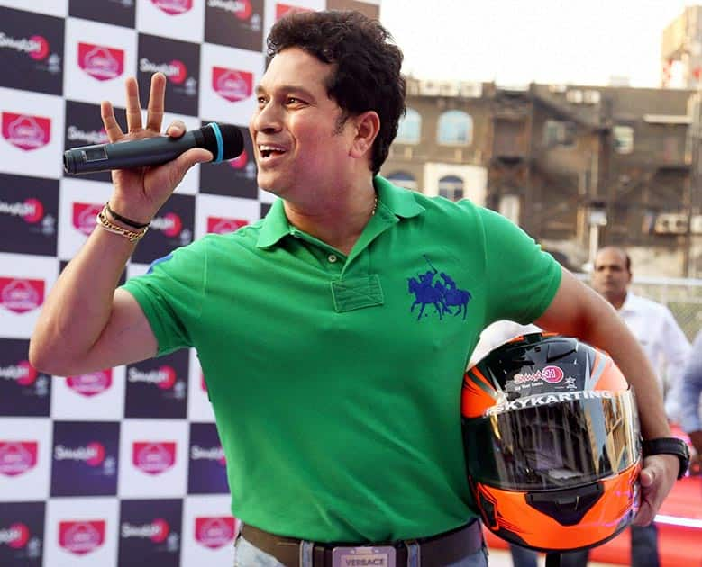 Former cricketer Sachin Tendulkar during the inauguration of new Sky Karting arena in Mumbai.