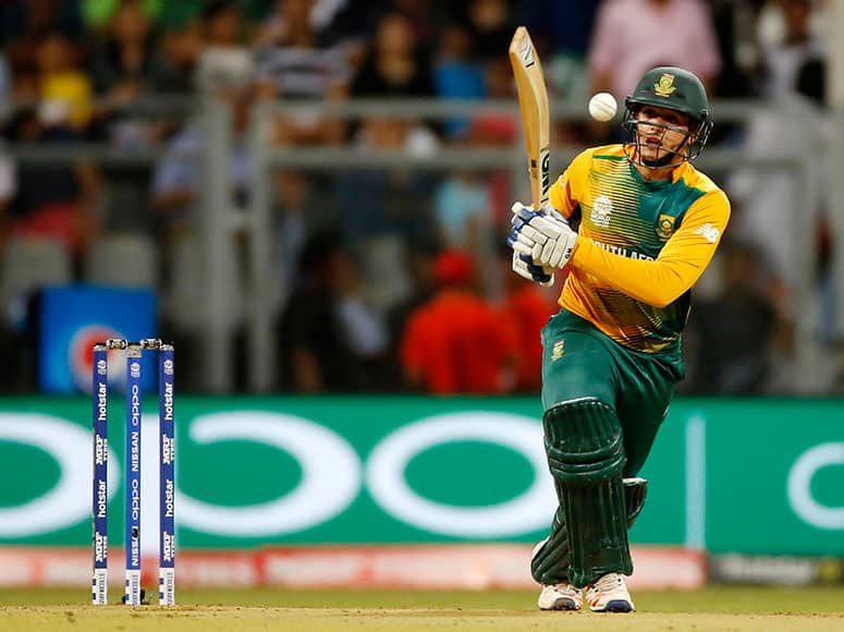 South Africa's Quinton de Kock bats against England during their ICC World Twenty20 2016 cricket match at the Wankhede stadium in Mumbai.