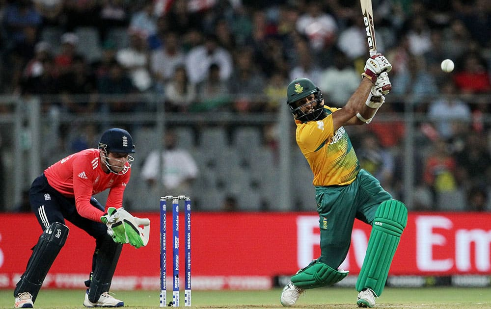 South Africa's Hashim Amla bats during their ICC World Twenty20 2016 cricket match against England at the Wankhede stadium in Mumbai.