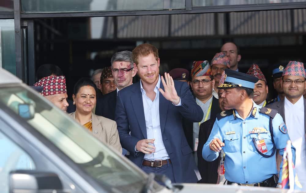 British Prince Harry arrives in Tribhuwan International Airport in Kathmandu.