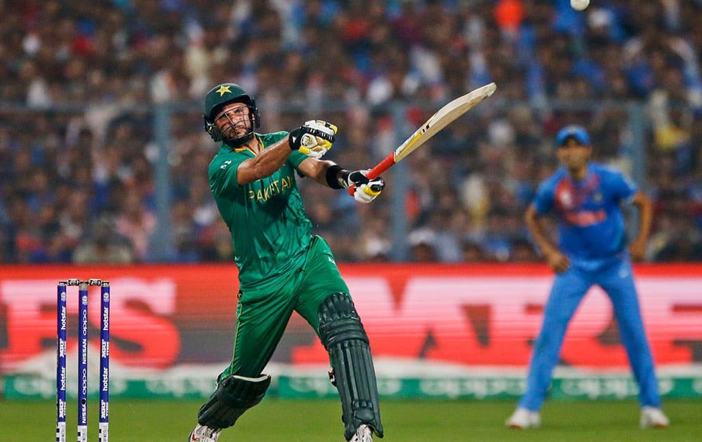Pakistan's Shahid Afridi bats during the ICC World Twenty20 2016 cricket match against India at Eden Gardens in Kolkata.