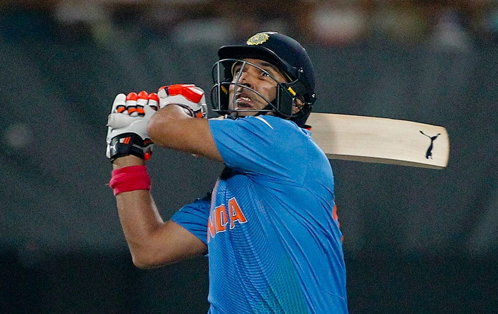 India's Yuvraj Singh bats during the ICC World Twenty20 2016 cricket match against Pakistan at Eden Gardens in Kolkata.