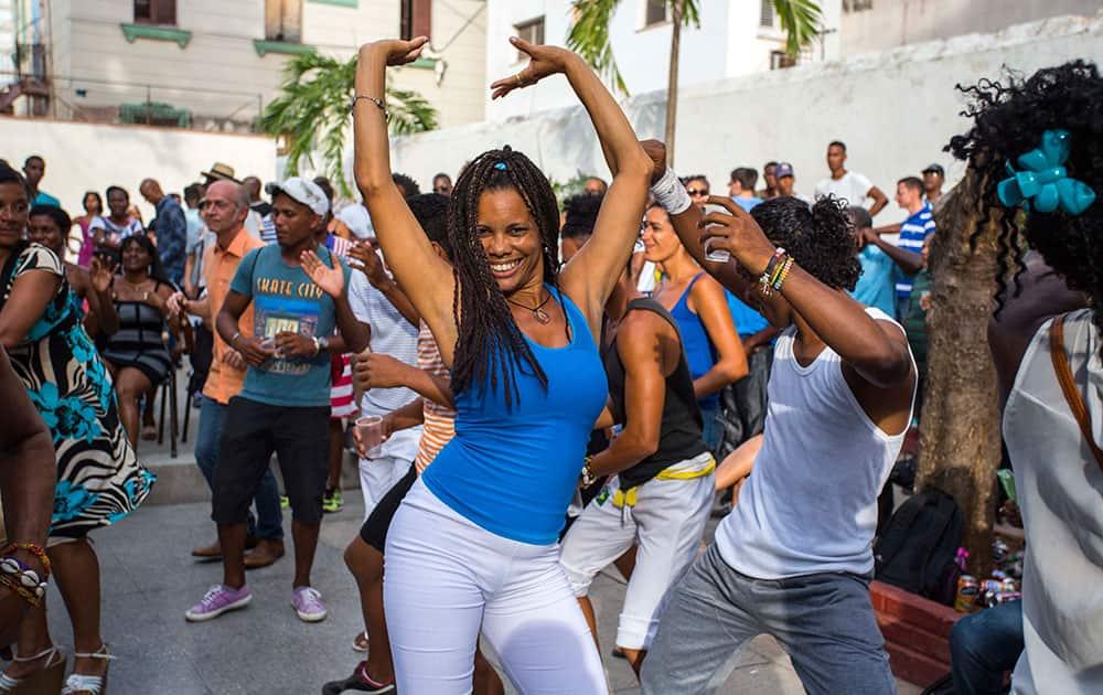 Cubans enjoy a weekly rumba dance gathering in Havana, Cuba.