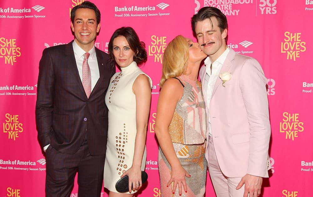 Zachary Levi, from left, Laura Benanti, Jane Krakowski and Gavin Creel attend the Broadway opening night of