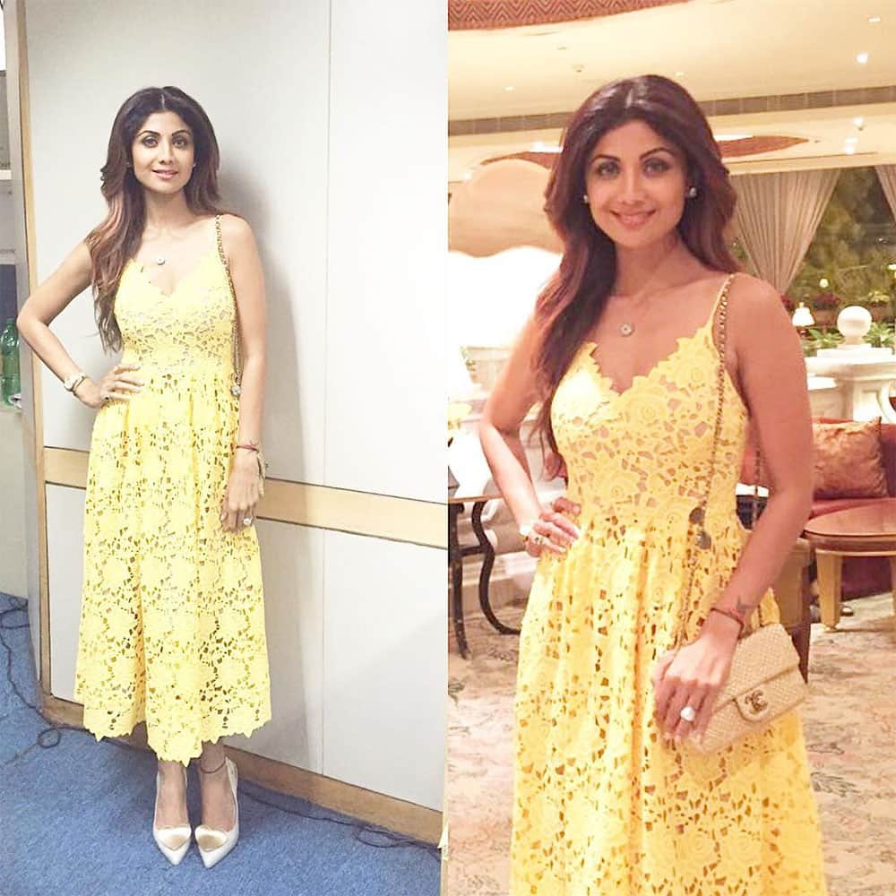 SHILPA SHETTY KUNDRA :- Wearing an H&M dress and Vivienne Westwood shoes today with a spring in my step headed to the #springfever2016 .#thegreatindiandiet #health #speaker -instagram