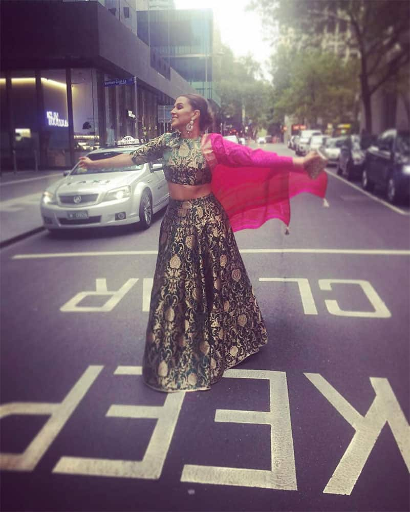 Neha Dhupia :- #keepclear ... Caus I am here !!! #melbourne #workcation -instagram