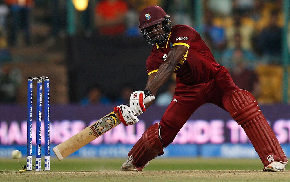 West Indies' Andre Fletcher plays a shot during their ICC World Twenty20 2016 cricket match against Sri Lanka in Bangalore.