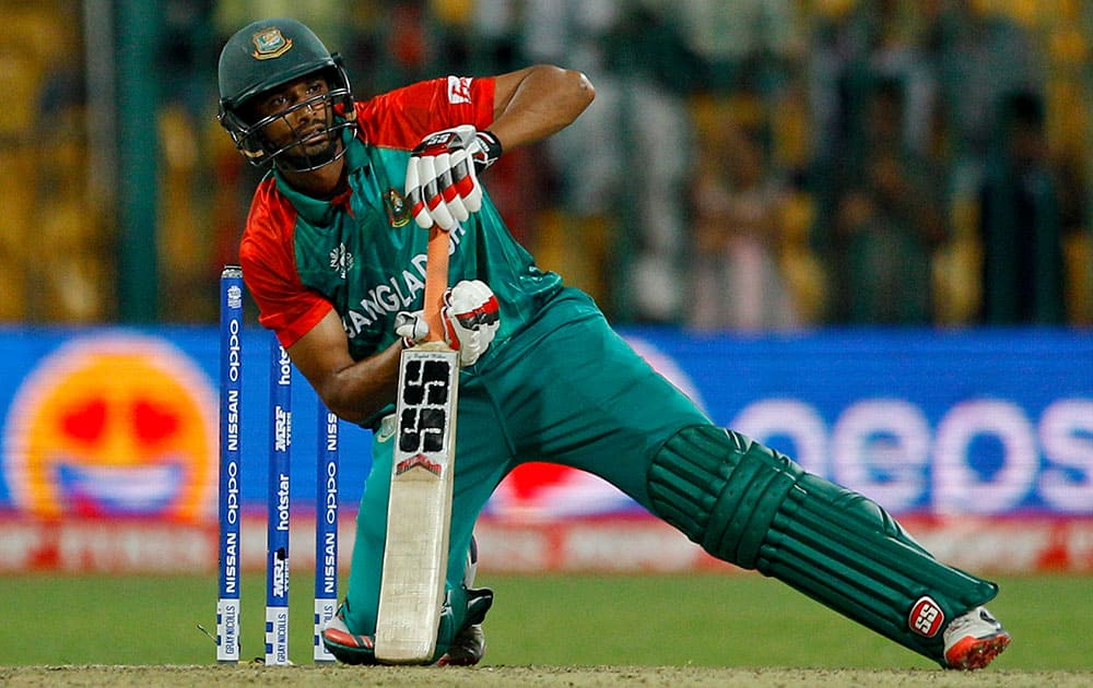 Bangladesh's Mahmudullah pauses after playing a shot during their ICC World Twenty20 2016 cricket match against Australia in Bangalore.