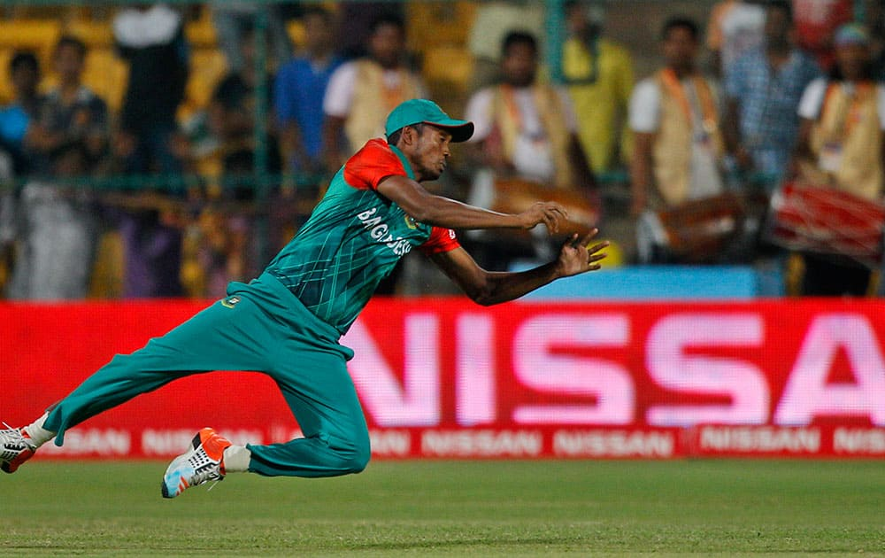 Bangladesh's Al-Amin Hossain drops a catch of Australia's John Hastings during their ICC World Twenty20 2016 cricket match in Bangalore.