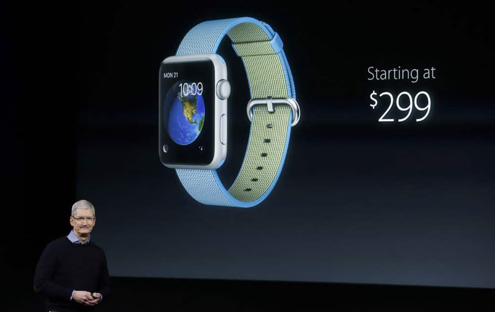 Apple CEO Tim Cook, speaks at an event to announce new products and an update to the Apple Watch at Apple headquarters Monday, March 21, 2016, in Cupertino, California.