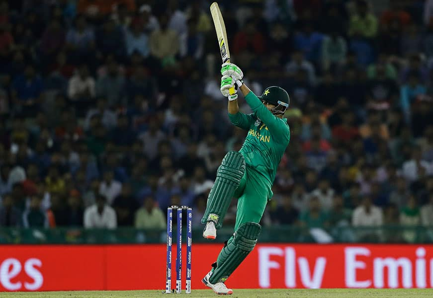 Pakistan's Sharjeel Khan plays a shot during their ICC World Twenty20 2016 cricket match against New Zealand in Mohali.