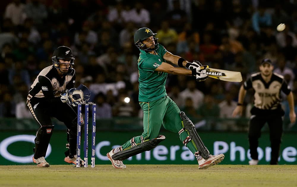Pakistan's Shahid Afridi plays a shot during their ICC World Twenty20 2016 cricket match against New Zealand in Mohali.