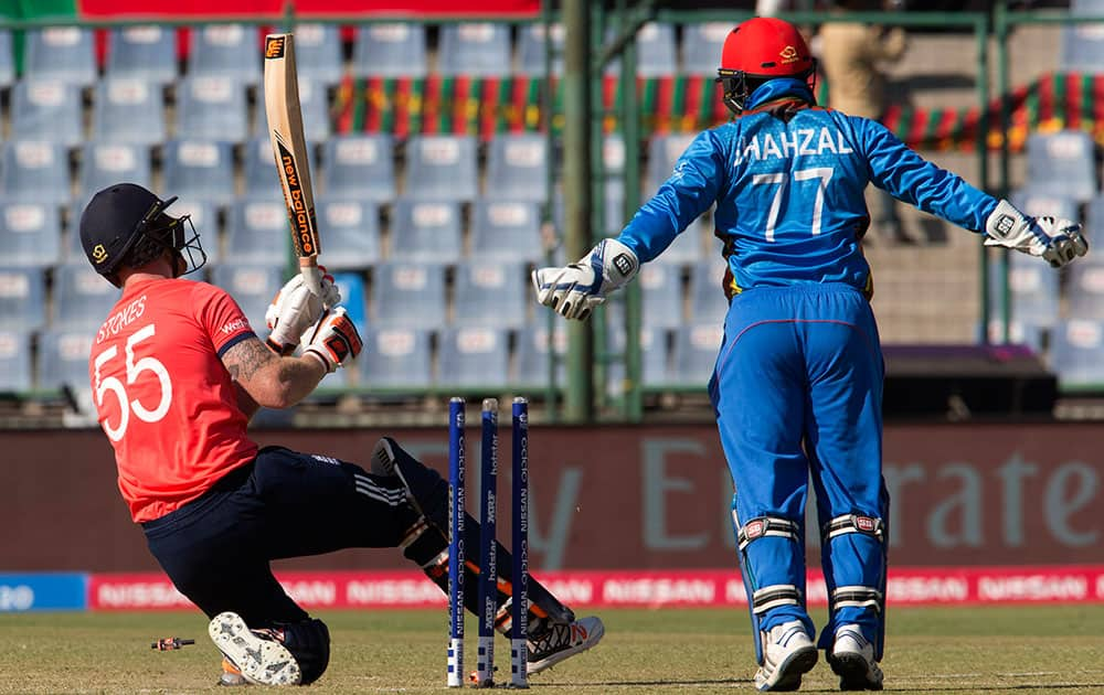 England's Ben Stokes gets out against Afganistan during their ICC Twenty20 2016 Cricket World Cup match at the Feroz Shah Kotla cricket stadium in New Delhi.