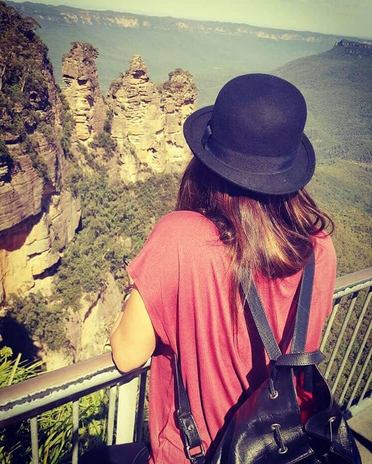 Neha Dhupia :- Let's get lost in a beautiful place ... #threesisters #bluemountains @ Sydney, Australia -instagram