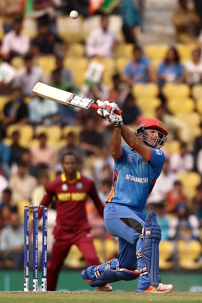 Afghanistan's Najibullah Zadran plays a shot during their ICC World Twenty20 2016 cricket match against West Indies' in Nagpur.