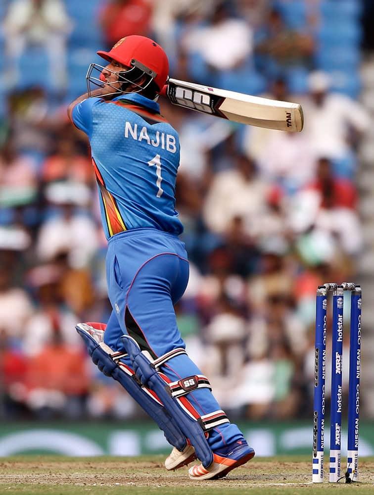 Afghanistan's Najibullah Zadran plays a shot during their ICC World Twenty20 2016 cricket match against West Indies in Nagpur.