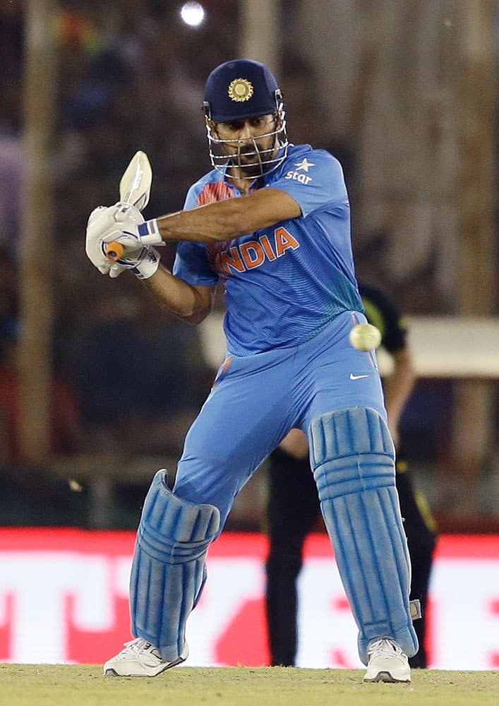 India's MS Dhoni bats during their ICC World Twenty20 2016 cricket match against Australia in Mohali.