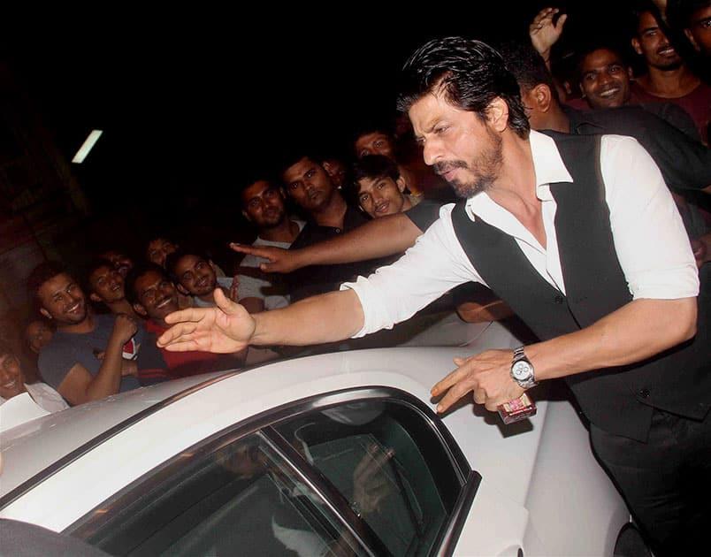 Bollywood actor Shah Rukh Khan during a party hosted by filmmaker Sanjay Leela Bhansali in Mumbai.
