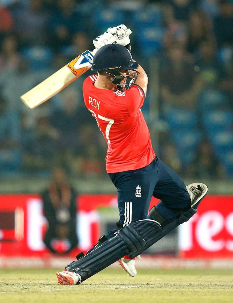 England's Jason Roy bats during their ICC World Twenty20 2016 Cricket World Cup semifinal match against New Zealand at the Feroz Shah Kotla cricket stadium in New Delhi.