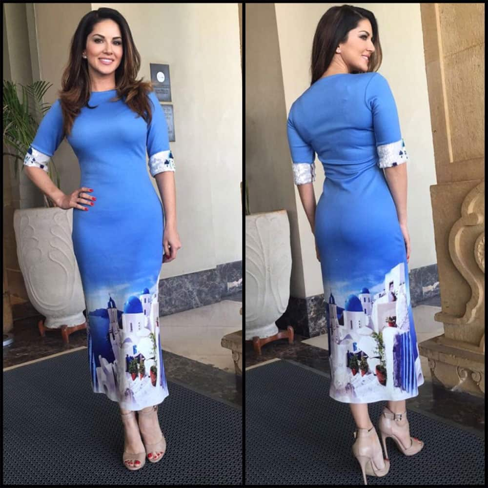 Sunny Leone :- Thanks @souniagohil for this super cool printed dress. Styled by @hitendra1480 -twitter
