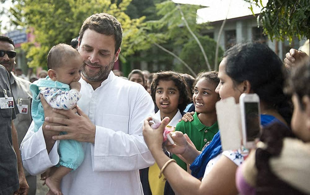 Congress Vice President Rahul Gandhi with students and staff of Jawahar Navodaya Vidhyalya in Dibrugarh during his visit to Assam.