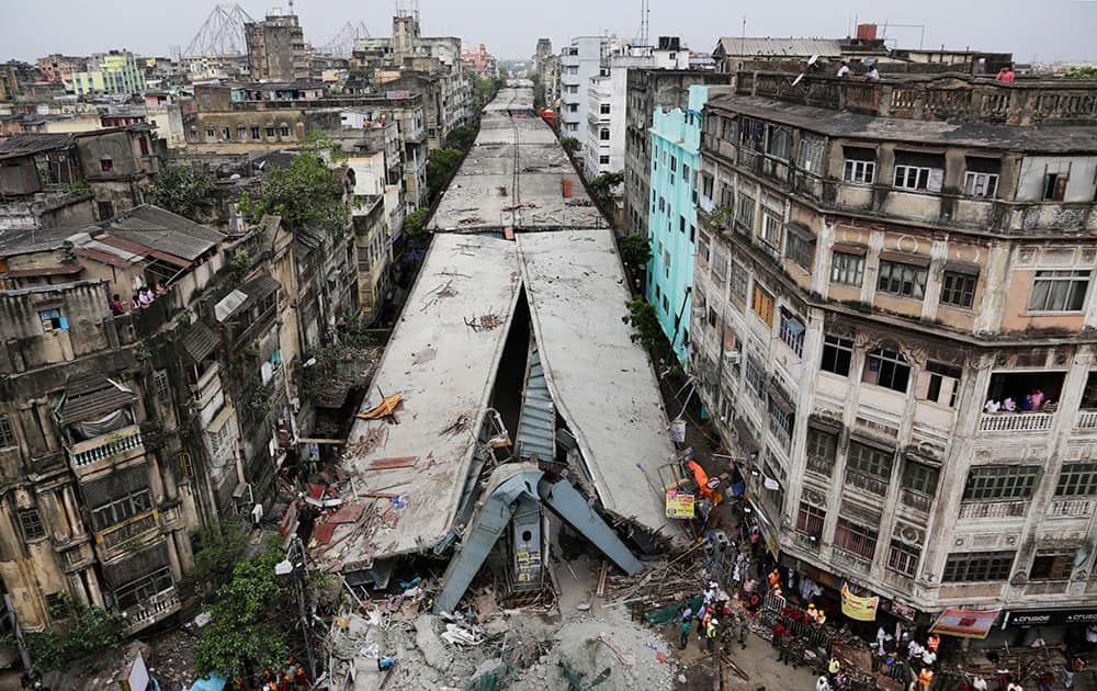 General view shows a partially collapsed overpass in Kolkata.