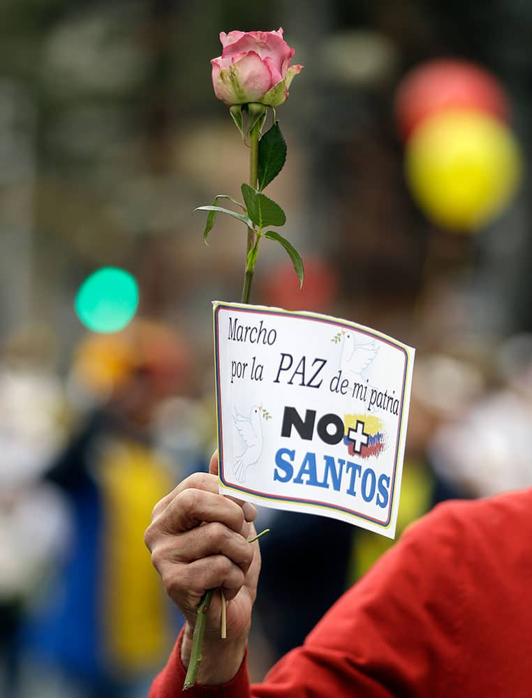 A man holds a rose and signs that read in Spanish;