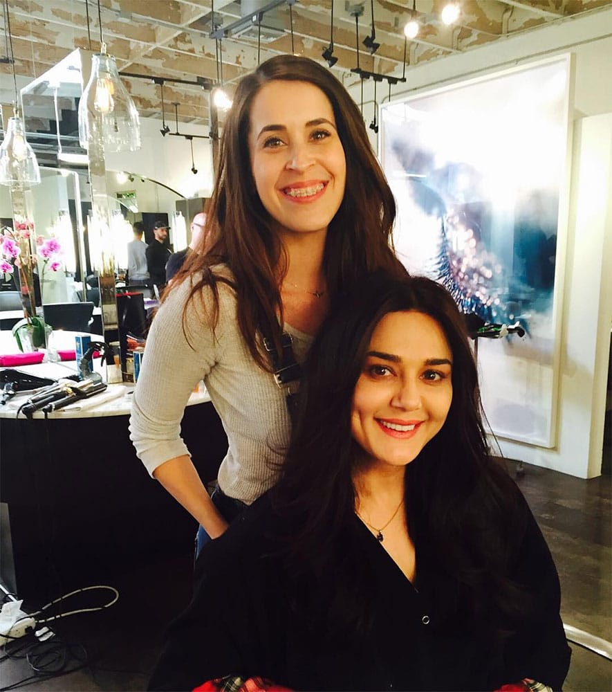 Preity zinta :- Thanks Jen  for my awesome new hair cut ! Am loving the bangs See you soon & take care -instagram