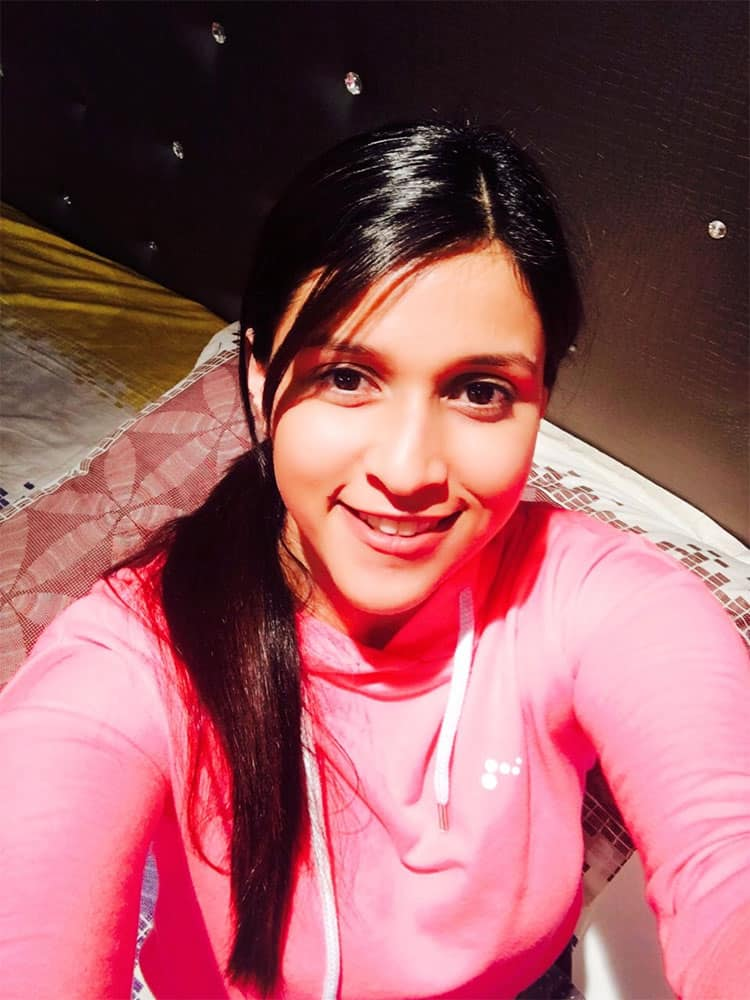 Mannara :- #Night shoots and #pink colour always make me feel #happy -twitter