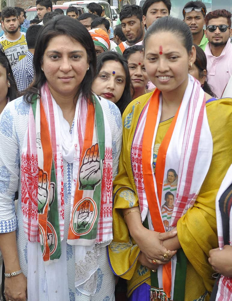 Former MP and Congress leader Priya Dutta with Congress candidate from West Guwahati constituency Juri Sarma Bordoloia at election campaign meeting in Guwahati.