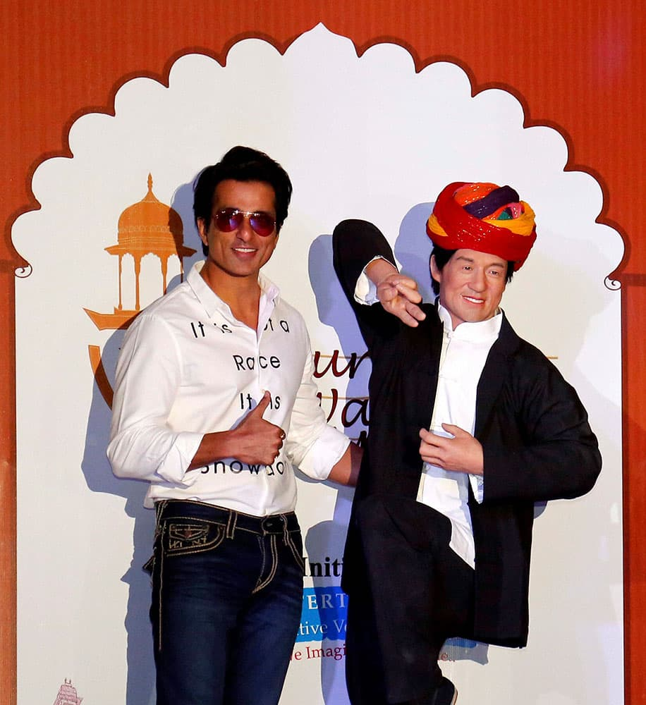 Actor Sonu Sood poses with a wax statue of Hollywood superstar Jackie Chan after unveiling it at Nahargarh Fort Museum in Jaipur.