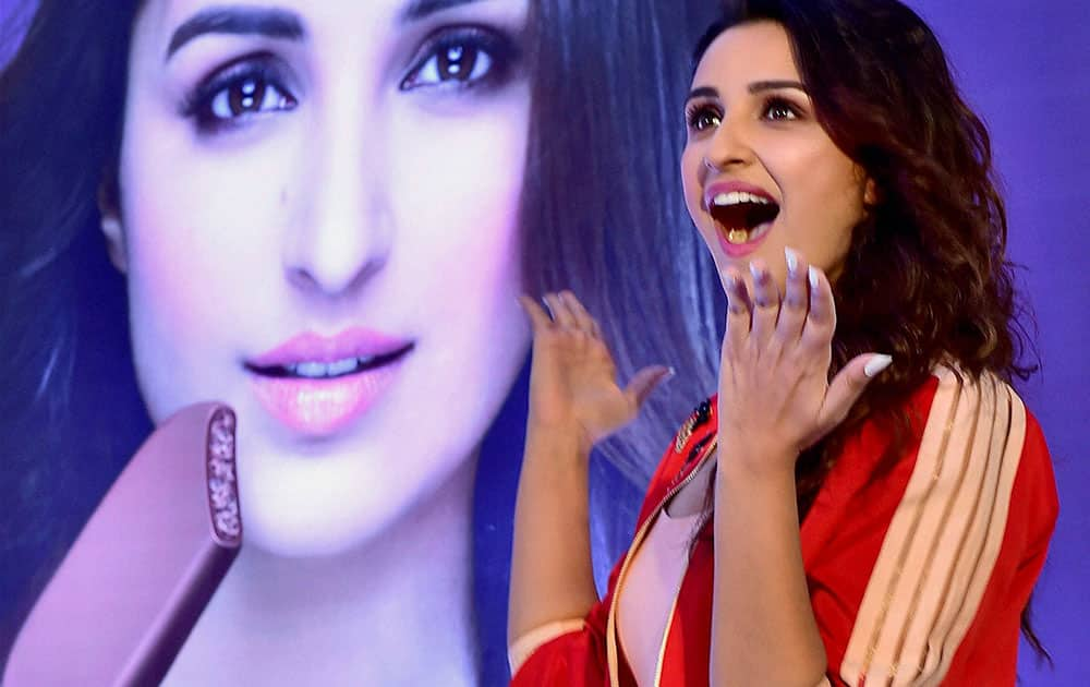 Bollywood actress Parineeti Chopra gestures during a promotional event in New Delhi.