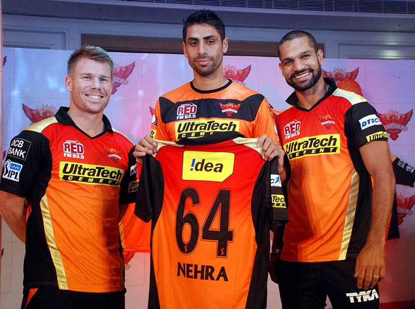 Sunrisers Hyderabad launch of the new Squad that include Shikhar Dhawan , Ashish Nehra, during the Ben cutting for the IPL 2016 at a press conference in Hyderabad.