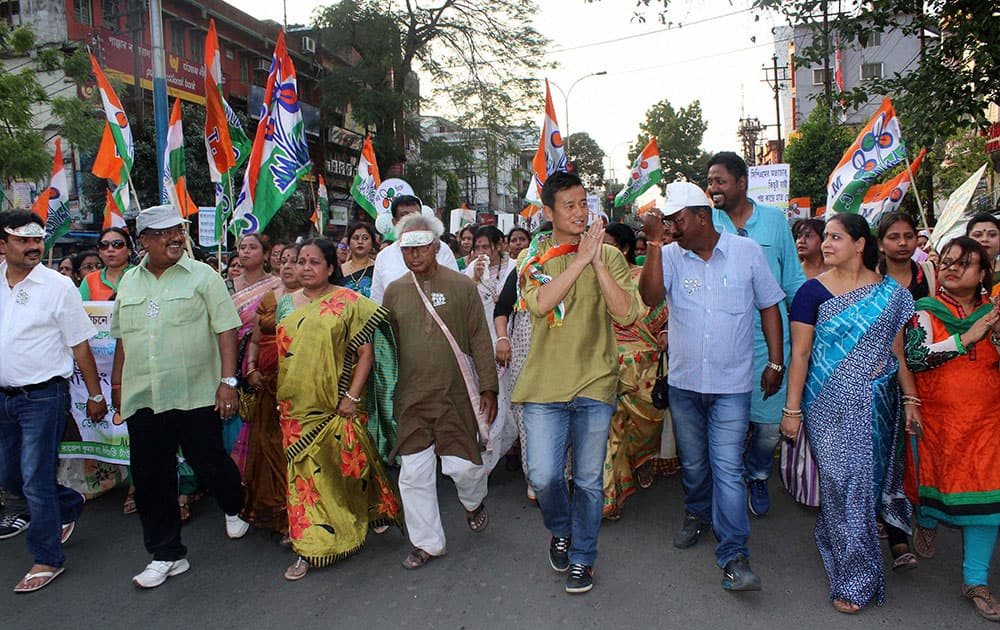 TMC candidate and footballer Baichung Bhutia during his election campaign in Siliguri.