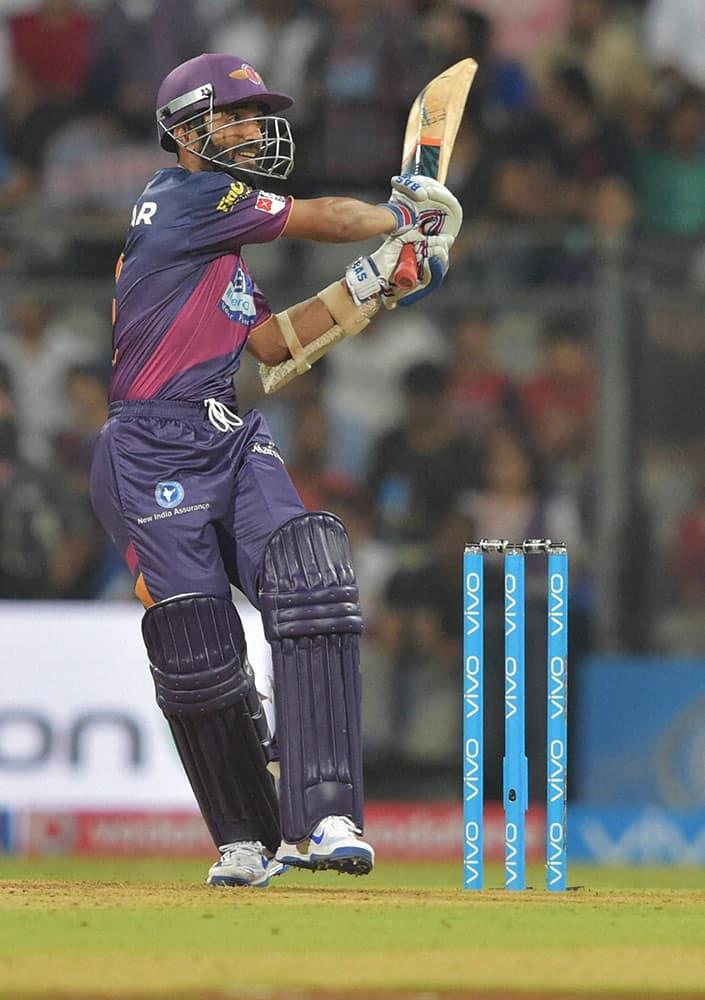 Rising Pune Supergiants batsman Ajinkya Rahane plays a shot during the IPL 2016 opening match played against Mumbai.