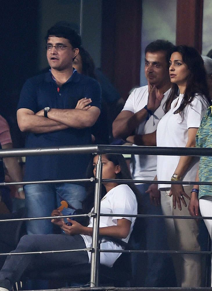 KKR co-owner Juhi Chawala and CAB President Sourav Ganguly watching IPL Match between KKR and Delhi Daredevils in Kolkata.