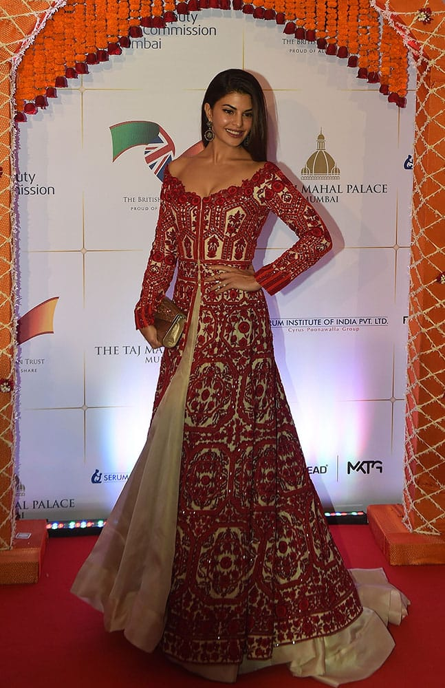 Bollywood actress Jacqueline Fernandez poses for photographers after arriving for a charity ball at the Taj Mahal Palace hotel attended by the Duke of Cambridge, Prince William, and his wife, Kate, the Duchess of Cambridge, in Mumbai.