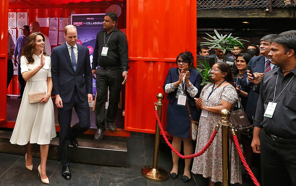 Britain's Prince William and his wife Kate, the Duchess of Cambridge, arrive at young entrepreneurs' event in Mumbai.