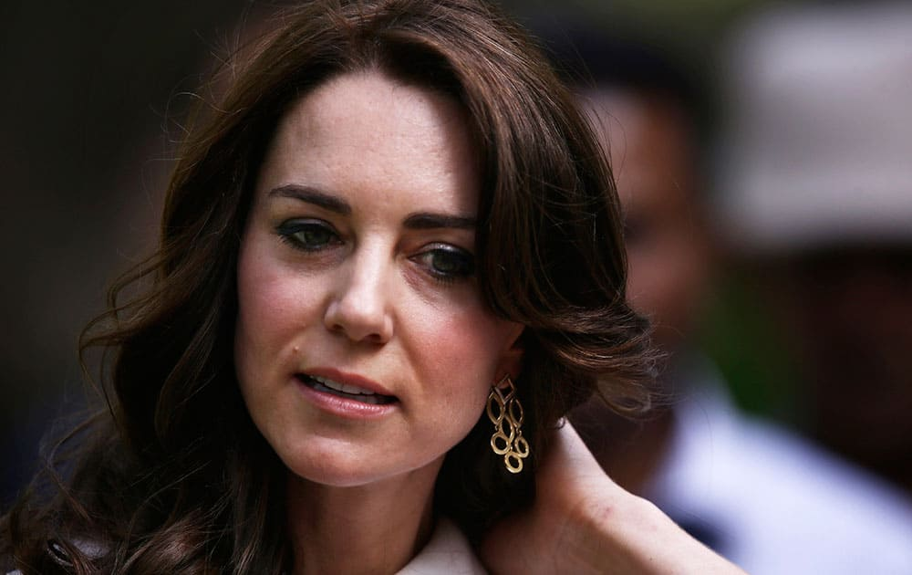 Kate, the Duchess of Cambridge, is seen while taking a tour of Gandhi Smriti, where Mahatma Gandhi spent the last 144 days of his life and was assassinated on 30 January 1948, in New Delhi.
