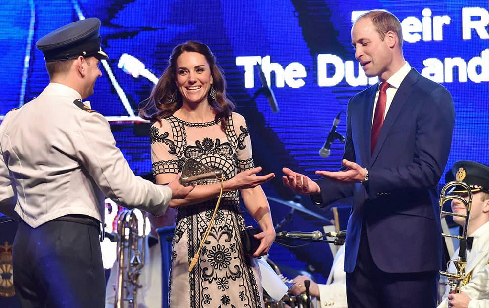 Prince William, Duke of Cambridge and Catherine, Duchess of Cambridge during 90th birthday celebration of The Queen Elizabeth II at the residence of British High Commissioner in New Delhi.