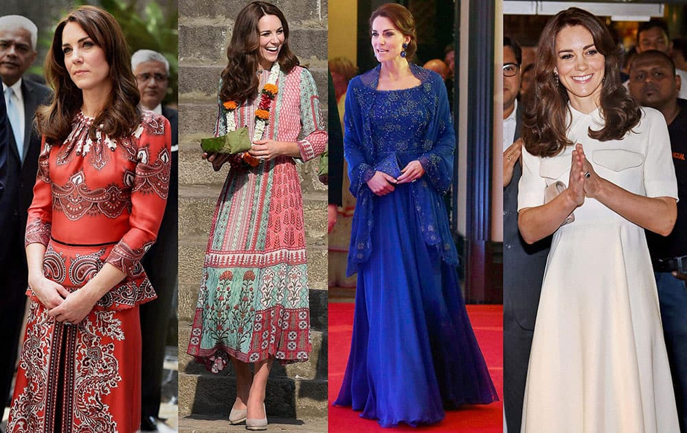 A combo picture shows, from left to right, Duchess of Cambridge Kate Middleton wearing the creation of Alexander McQueen (red), Indian designer Anita Dongres Mughal prints inspired tunic, British designer Jenny Packhams royal blue beaded gown and Emilia Wicksteas cream dress during her India visit.