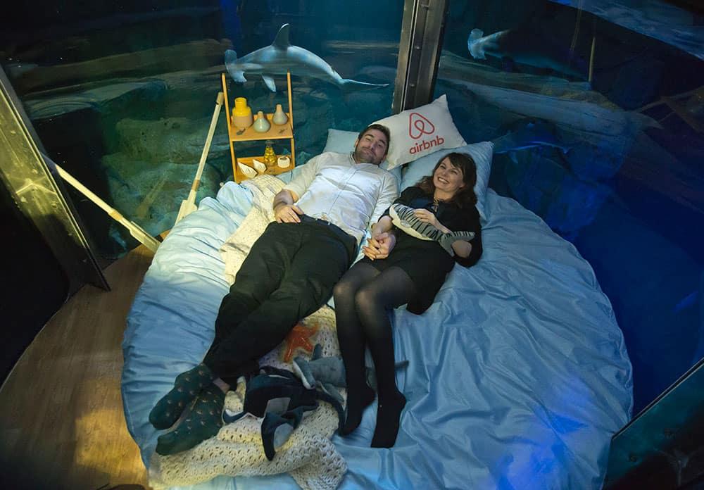 Contest winners British Alastair Shipman, left, and Irish Hanah Simpson pose in the underwater bedroom, housed in a shark tank at the Aquarium de Paris, France.