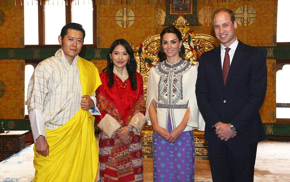 Bhutans King Jigme Khesar Namgyel Wangchuk, Bhutans Queen, Jetsun Pema, Kate, Duchess of Cambridge and Britains Prince William pose for a photograph in Thimphu, Bhutan.